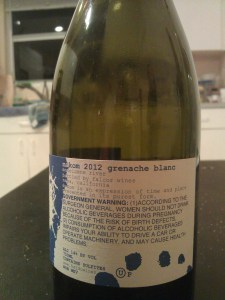 2012 Makom Grenache Blanc - back label
