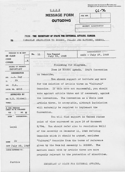 GOVERNMENT OF CANADA DOCUMENT